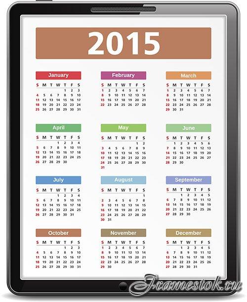 Календари на 2015 год в векторе - сборник шаблонов для дизайна.