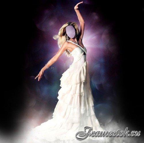 e98bb5e9b3a Шаблон psd женский - Изысканная девушка в шикарном платье белом ...