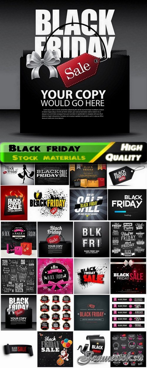 Banners and labels and tags for black friday sale - 25 Eps