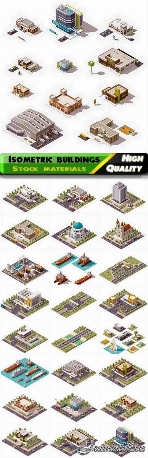 Isometric buildings and factories and skyscrapers 2 - 25 Eps