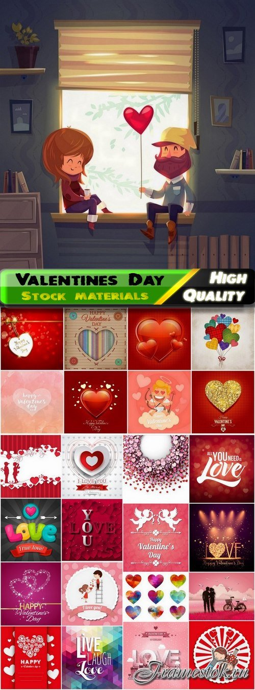 Romantic cards for Valentines Day with hearts and flowers 2 - 25 Eps