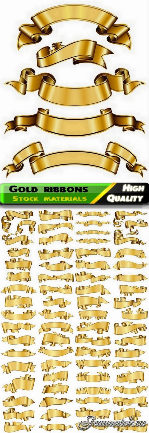 Set of gold ribbons for gift card decoration - 25 Eps