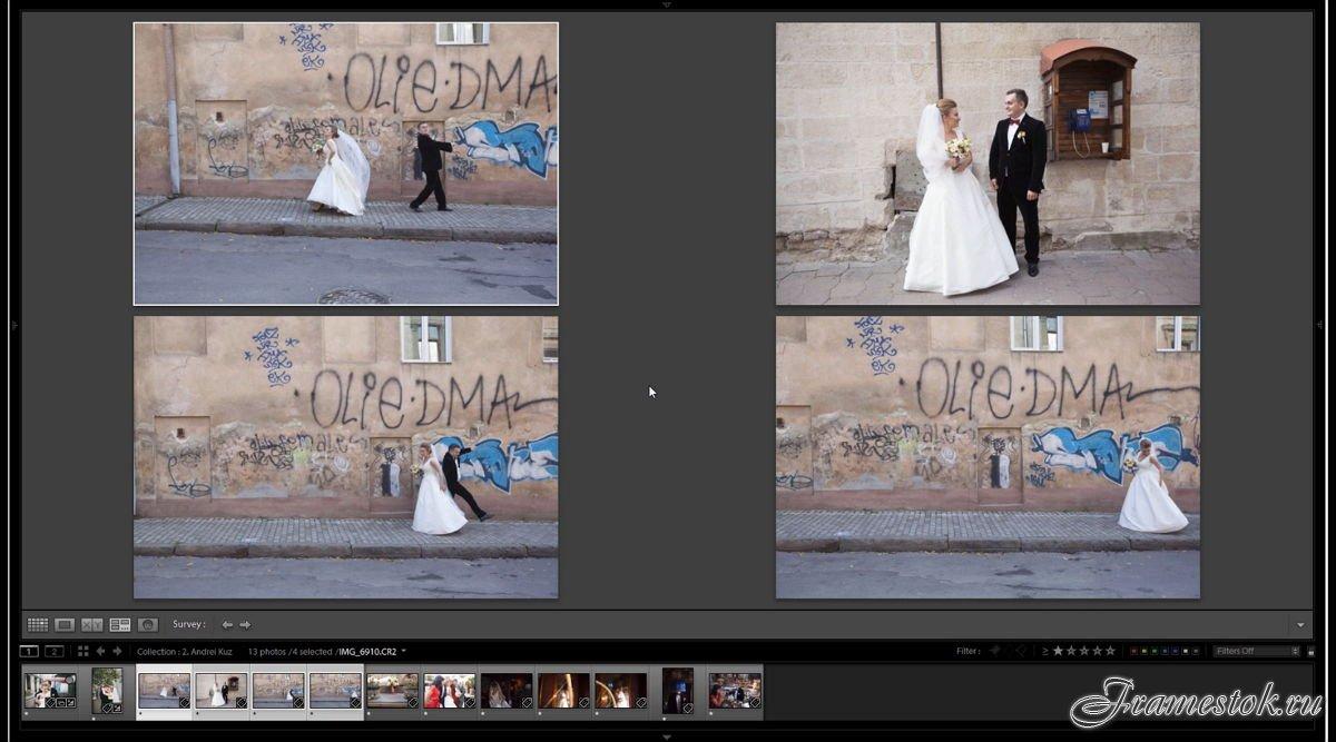 Обработка свадебных фотографий под пленку идея