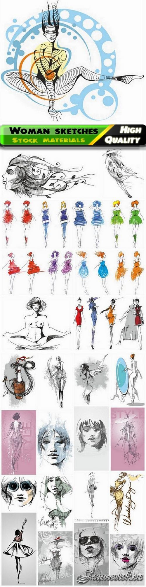 Fashion sketches of stylish woman and girl for beauty salon 25 Eps
