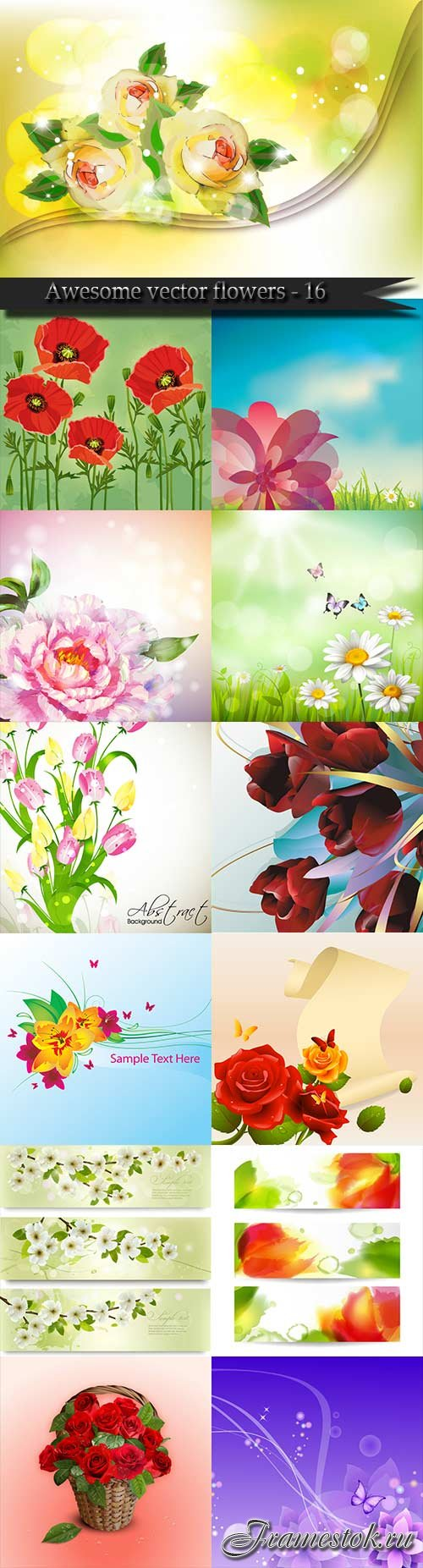 Awesome vector flowers - 16