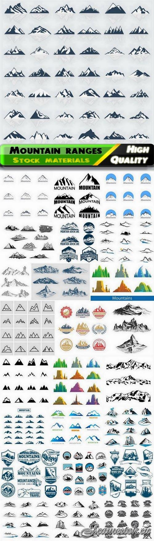 Mountain ranges and rock icon and landscape illustration 25 Eps