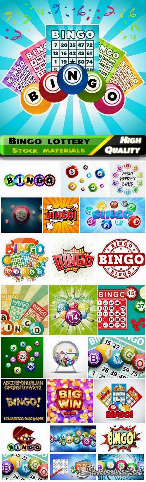 Bingo lottery game with ticket and balls with numbers 25 Eps