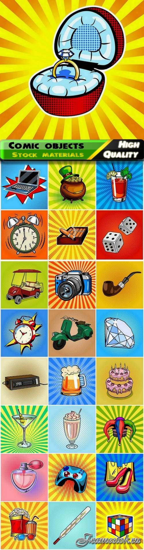 Set of different objects and elements in cartoon comic style 25 Eps