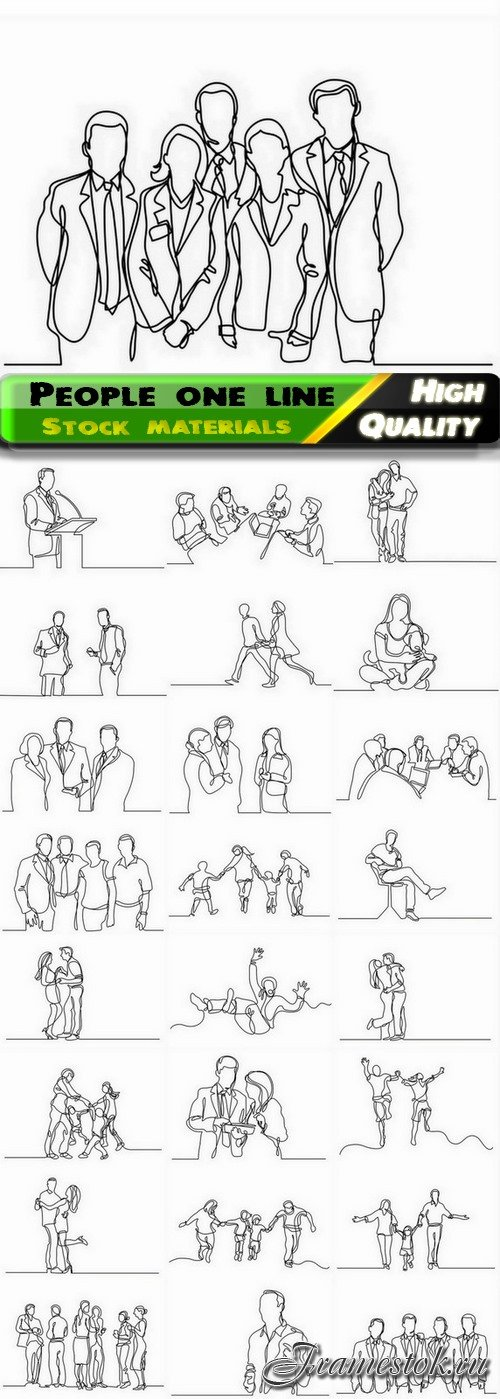 Creative people one line art illustration of man and woman 25 Eps