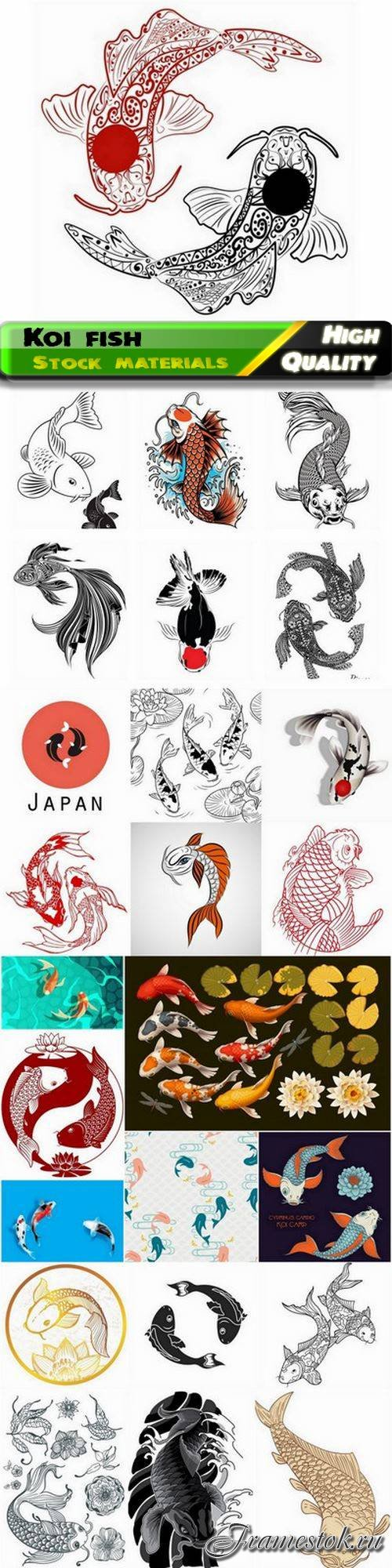 Decorative koi fish and brocade carp animals of japan 25 Eps