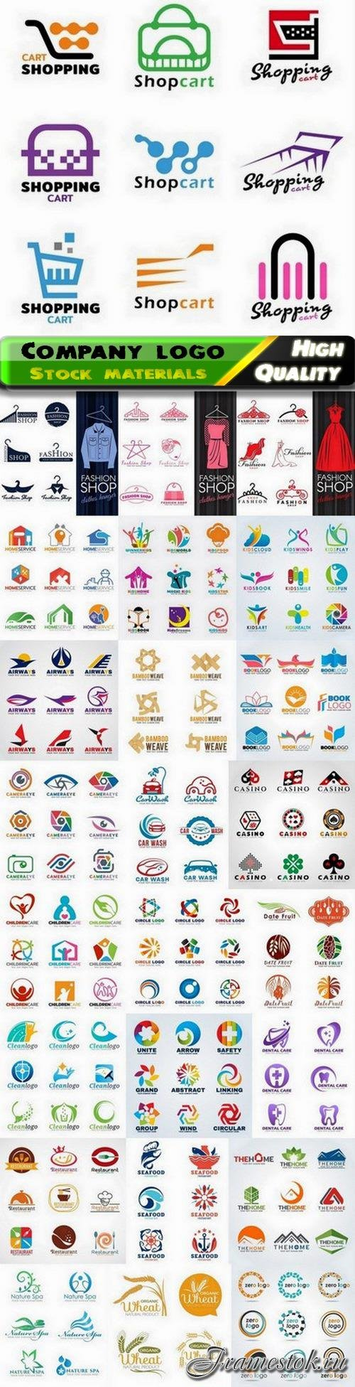 Set of corporate identity emblem and company logo badge 25 Eps