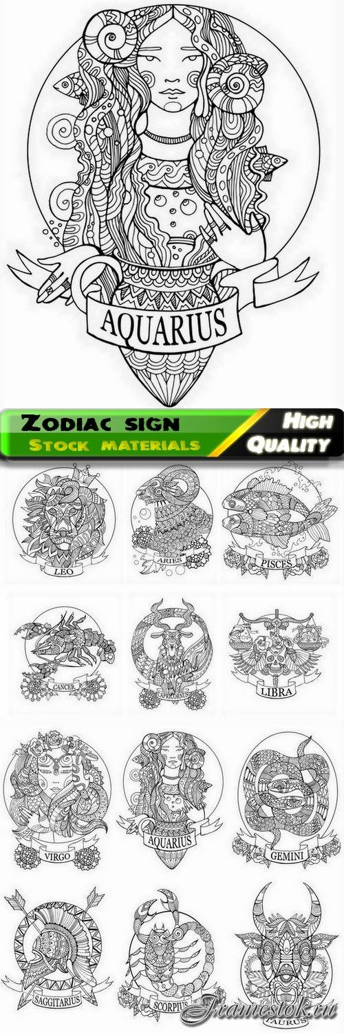Astrology zodiac sign and symbol for coloring book 12 Eps