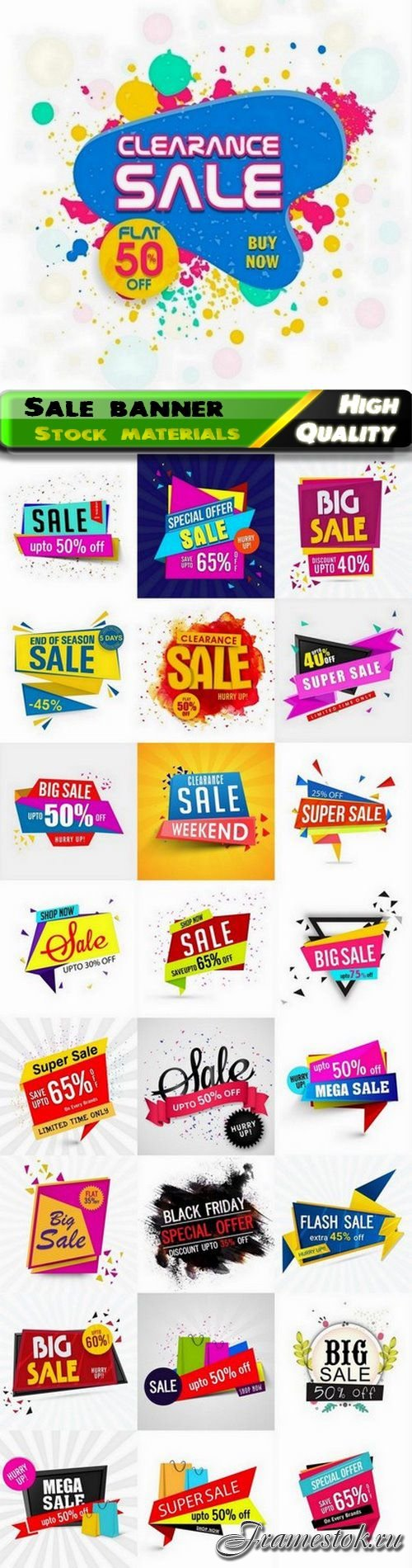 Creative abstract paper sale banner and discount cards 25 Eps