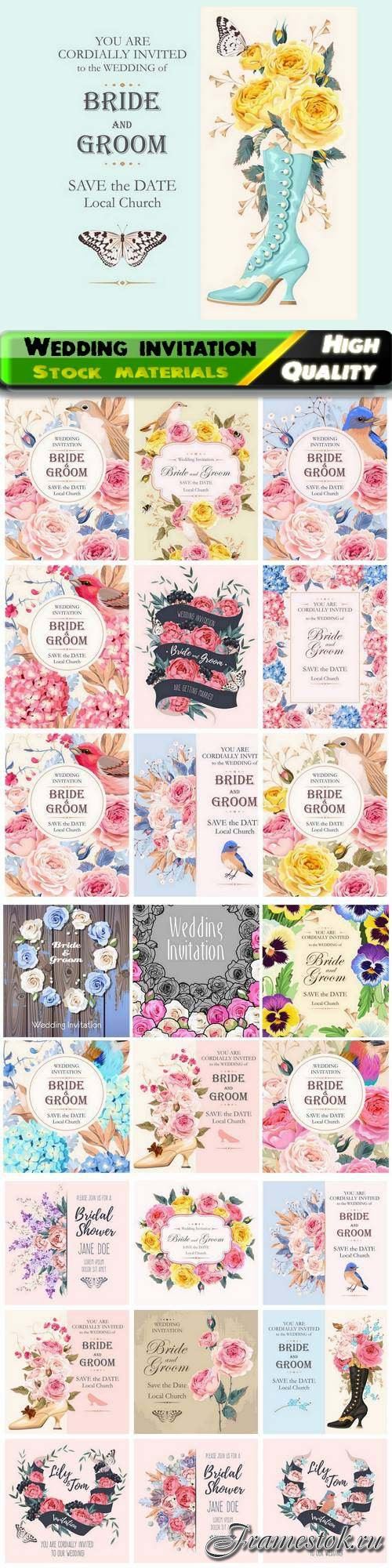 Floral frame for romantic wedding invitation with save date 25 Eps