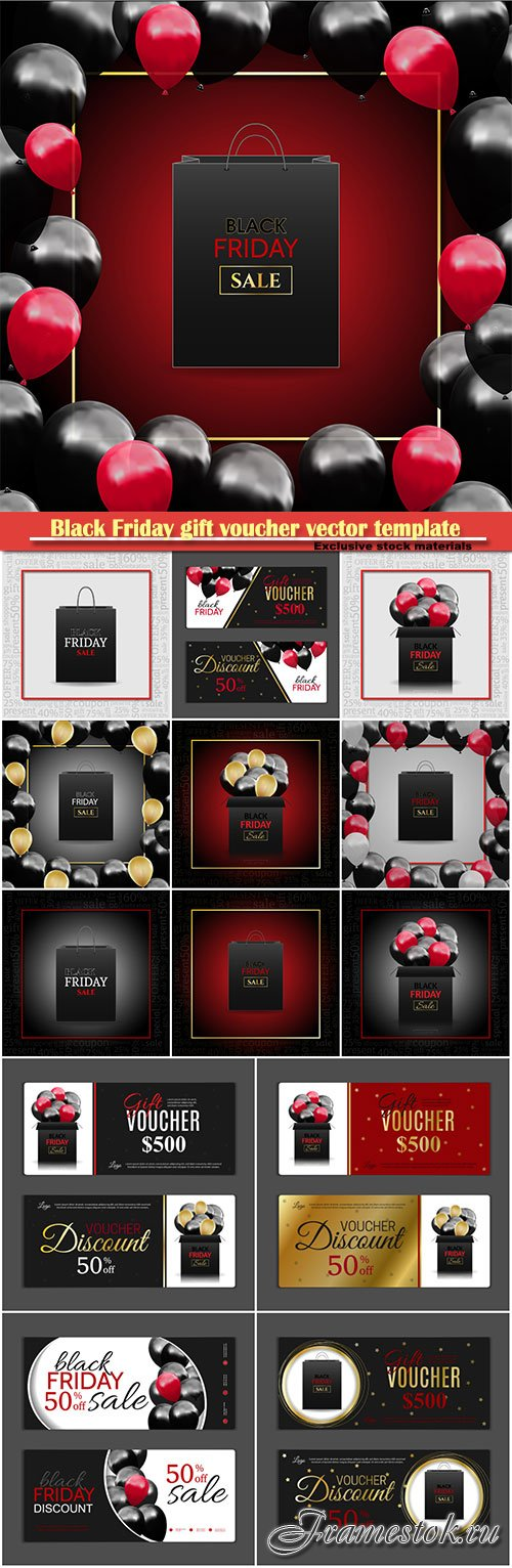 Black Friday gift voucher vector template, discount coupon, discount background