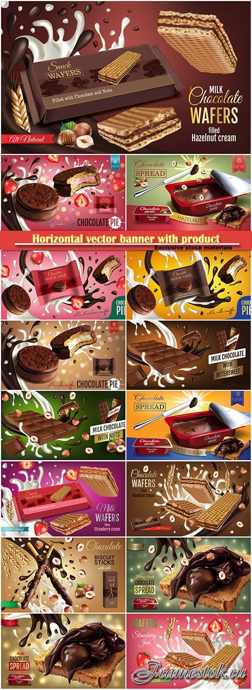 Horizontal vector banner with product, milk wafers with strawberry cream, milk chocolate with bittersweet, chocolate pie with milk and strawberry souffle