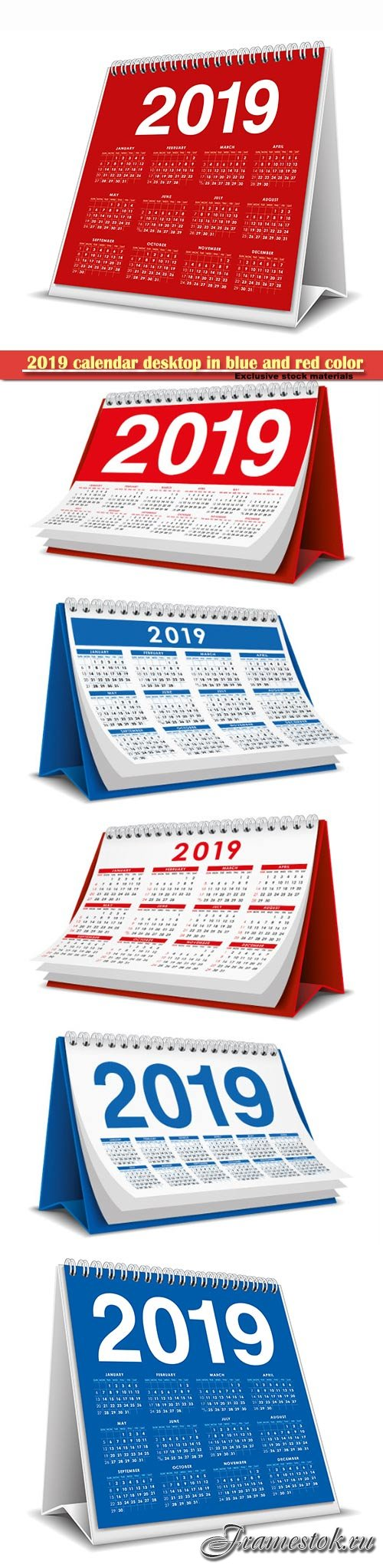 2019 calendar desktop in blue and red color