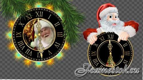 Футажи новогодние на прозрачном слое -Часы показывают скоро Новый год