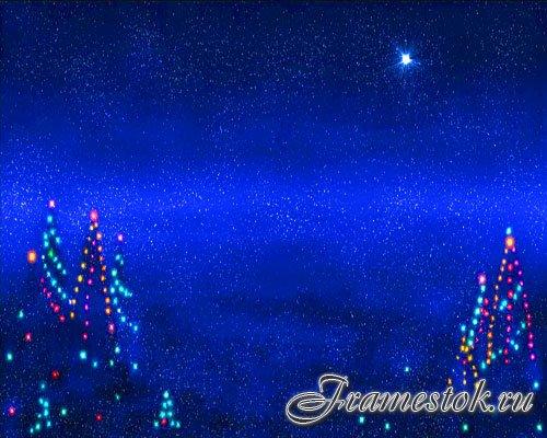 Футаж новогодний  -Ночь,звезды(фон)