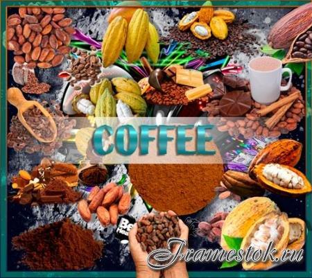 Клипарты для фотошопа - Какао и какао бобы