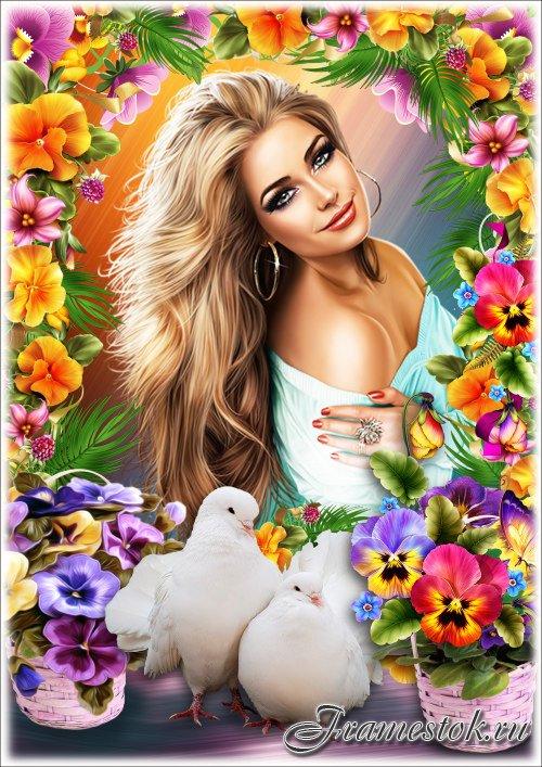 Цветочная рамка для Фотошопа - Мои любимые фиалки