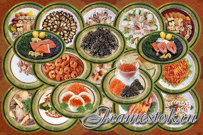 Клипарт Деликатесные морепродукты на старинном фарфоре