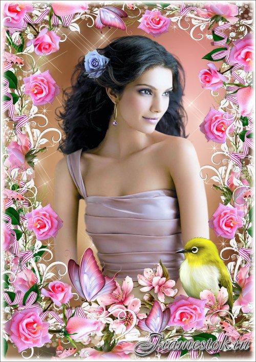 Рамка для Фотошопа - Розовые розы
