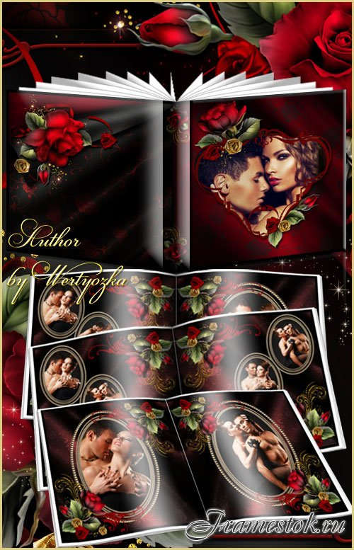 Beautiful photo album with red roses