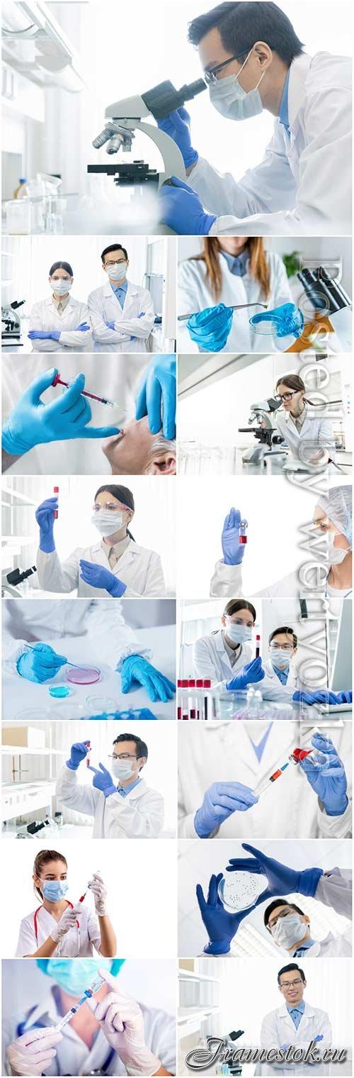 Medicine, doctors in the laboratory stock photo set