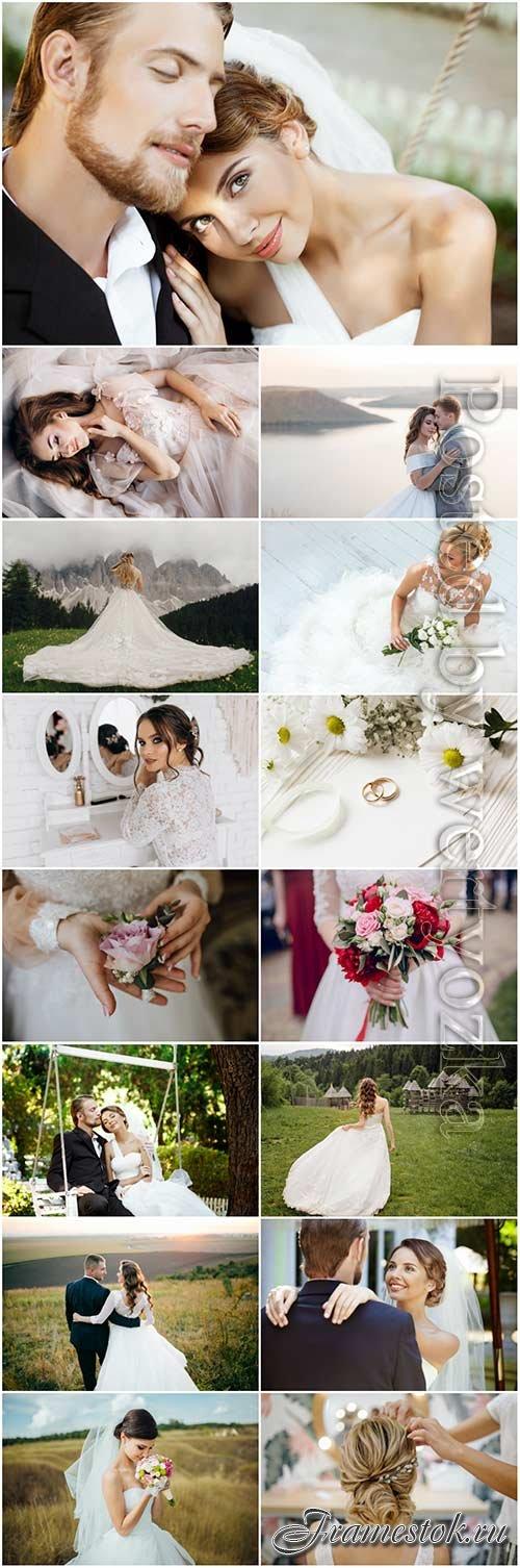 Wedding, happy bride and groom stock photo set