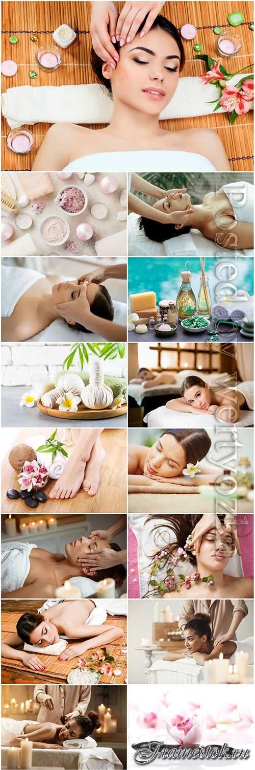Spa salon, girls and beauty stock photo set
