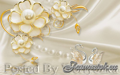 3D psd models dimensional luxury gold jewels flowers swan pearl wall background