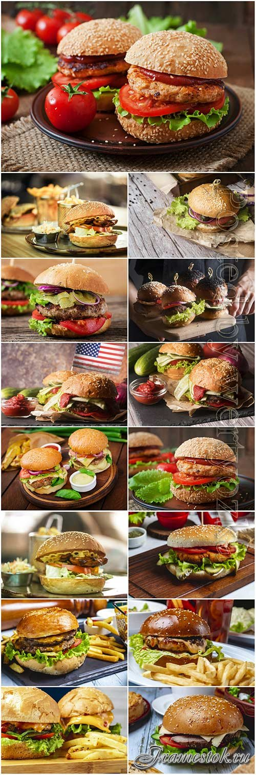 Big meat burger wooden board stock photo set