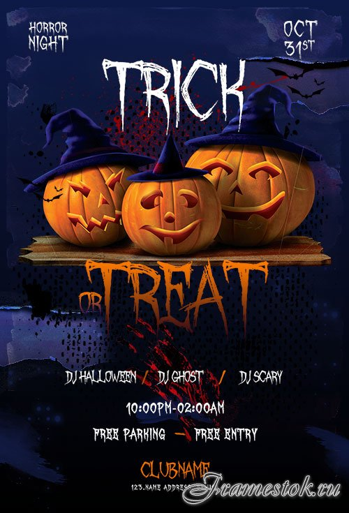 Trick or Treat Halloween Flyer Template PSD