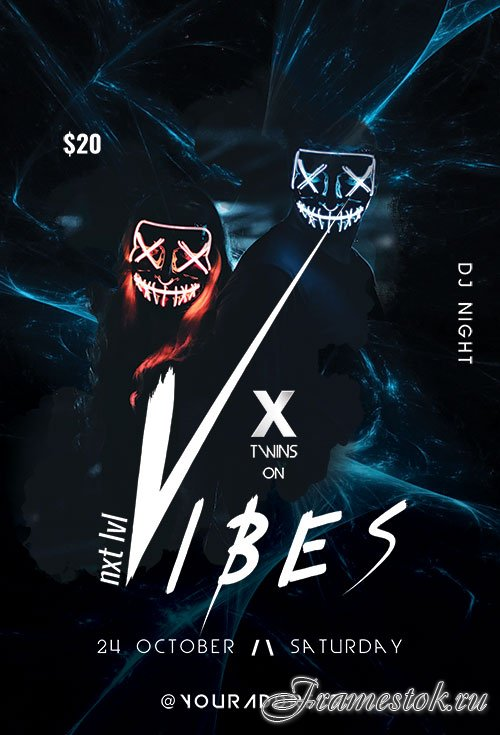 X Vibes psd flyer template