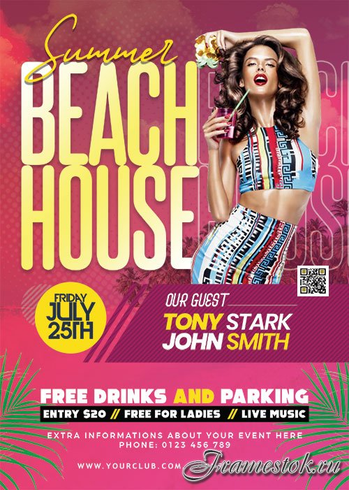 Summer Beach House Party Flyer PSD
