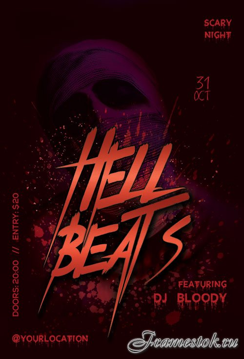 Hell Beats psd flyer template