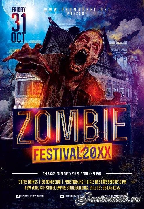 Zombie festival flyer psd