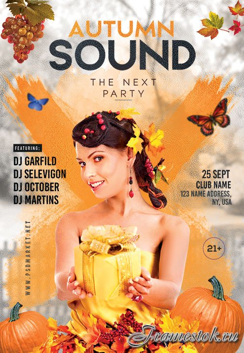Autumn sound - Premium flyer psd template
