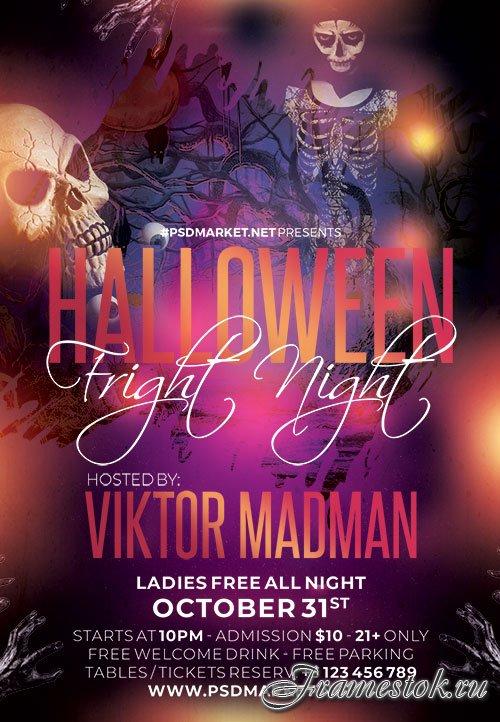 Halloween fright flyer psd