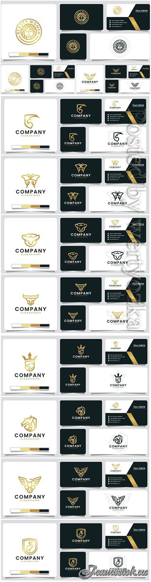 Golden color luxury logo vector design template