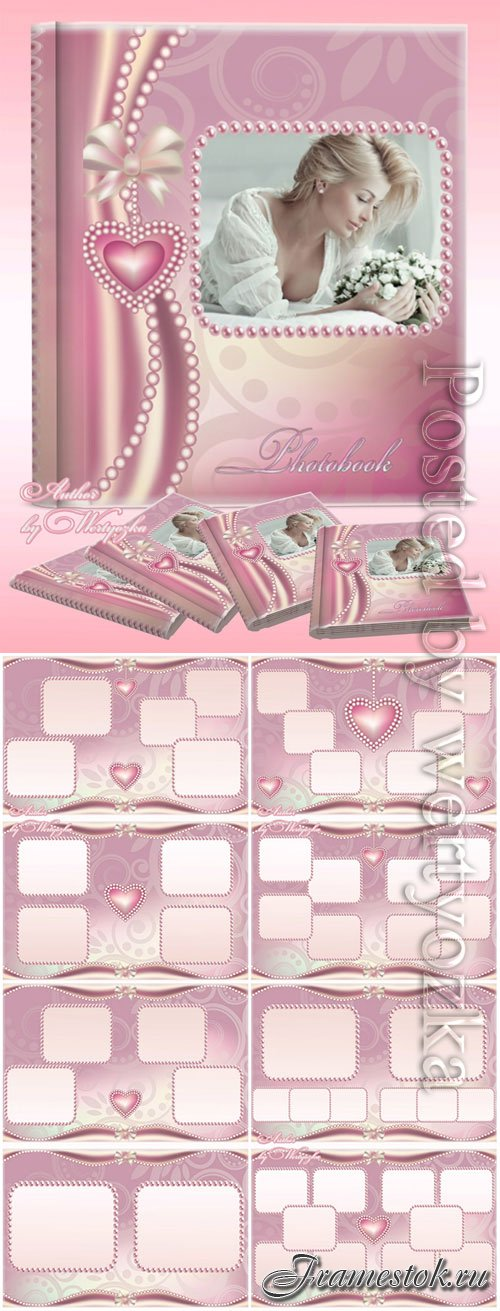 Beautiful photo album in soft pink tones