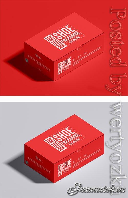 Modern Shoe Packaging Box Mockup PSD