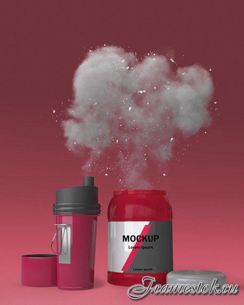 Supplements splash concept mock-up psd