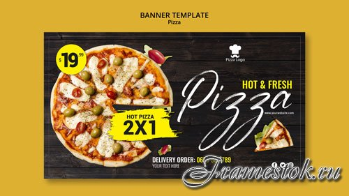 Pizza restaurant banner psd template