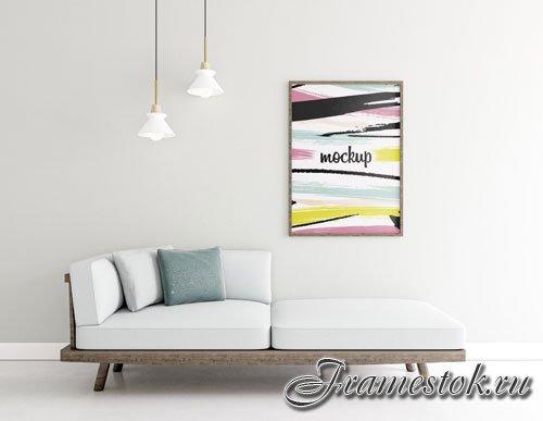 Indoors arrangement with frame mock-up psd
