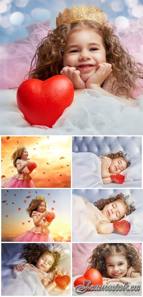 Girl with curly hair holding a red heart