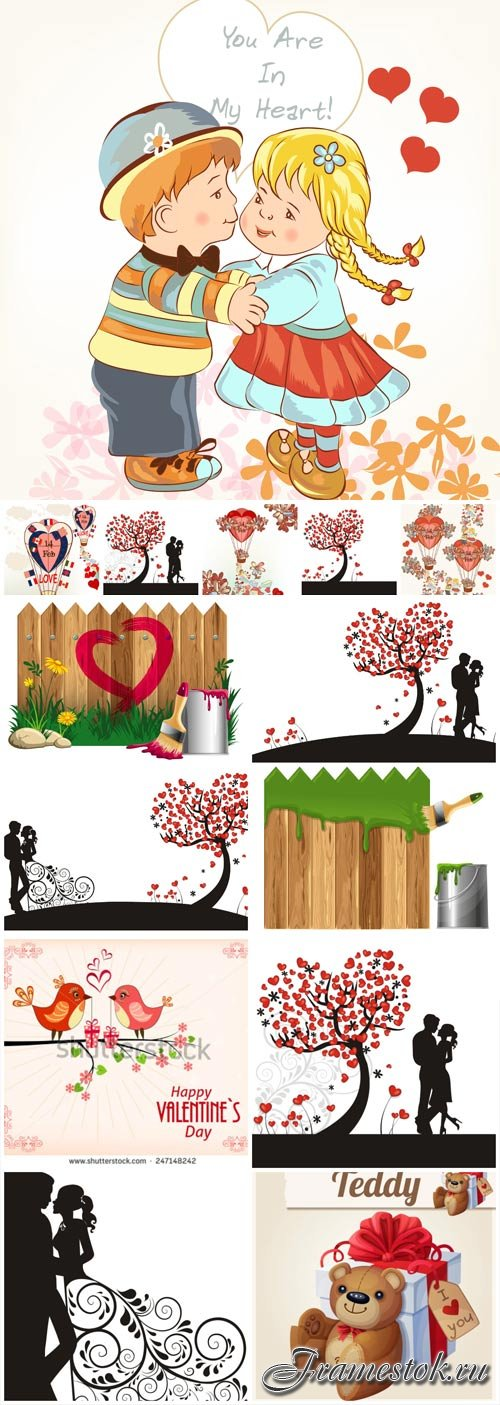 Couples in love, valentine's day in vector