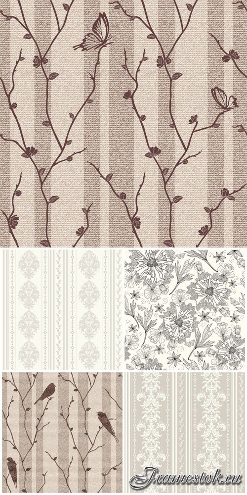 Backgrounds with birds and flowers in vector