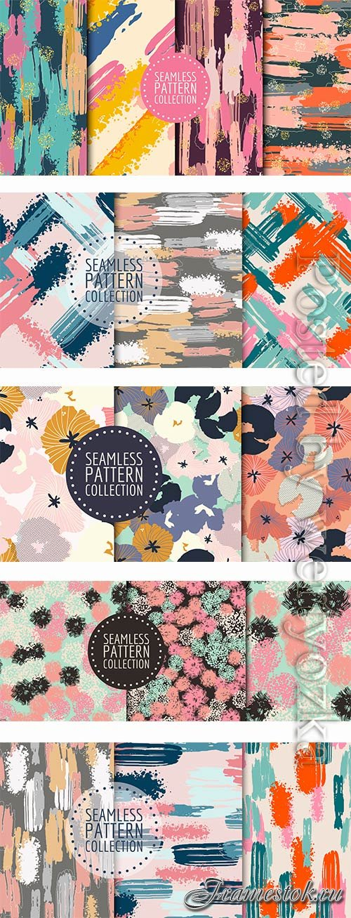Hand drawn seamless pattern set in vector